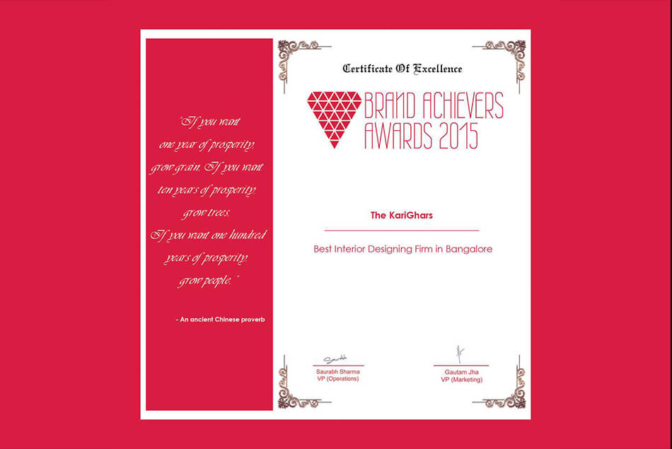 Certificate of Excellence Brand Achievers Awards 2015