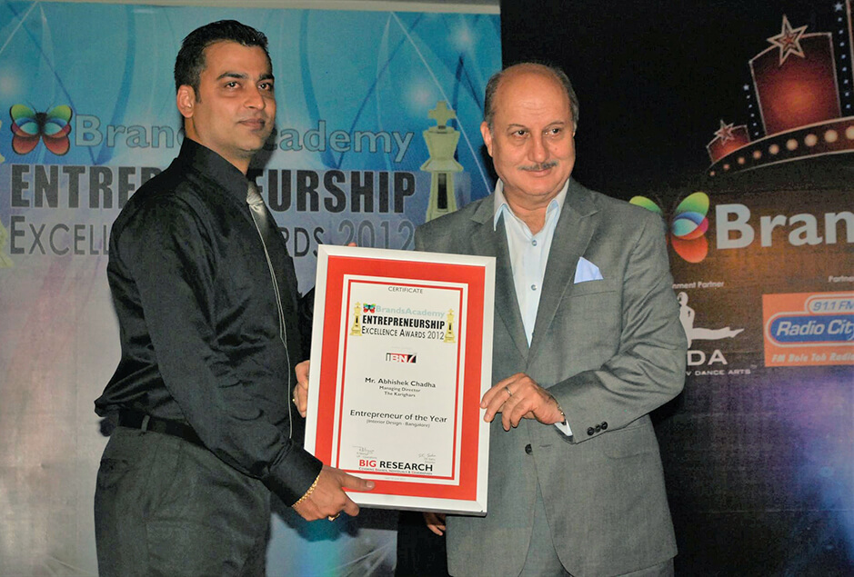 """Anupam Kher Entrepreneur of the Year (Interior Design, Bangalore)"""" by """"Brands Academy"""